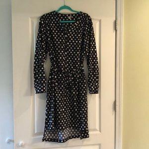 Black and white polka dot high low career dress